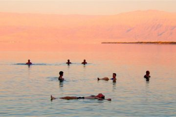 Tourists floating in the Dead Sea