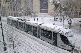 Jerusalem Light Rail Snow